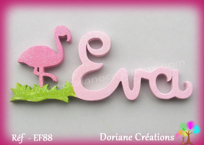 Prenom lettres bois eva avec flamant rose