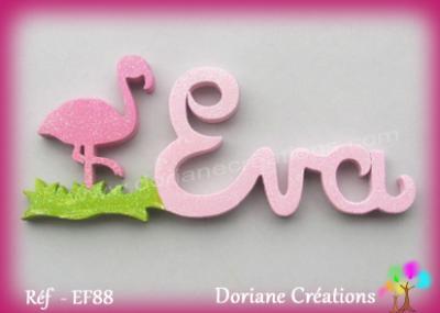 Prénom lettres bois flamand rose
