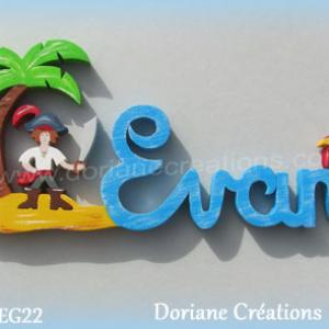 Prenom lettres bois evan pirate perroquet
