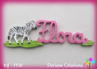 Prenom lettres bois flora avec zebre