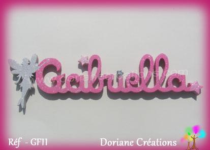Prenom lettres bois gabriella fee