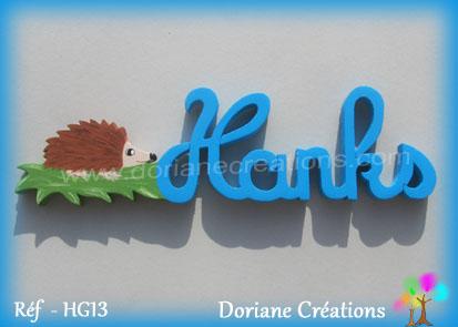 Prenom lettres bois hanks herisson