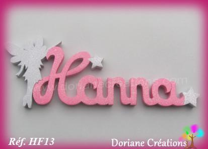 Prenom lettres bois hanna fee