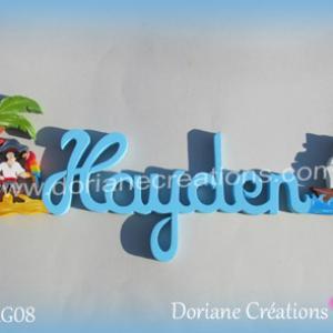 Prenom lettres bois hayden pirate