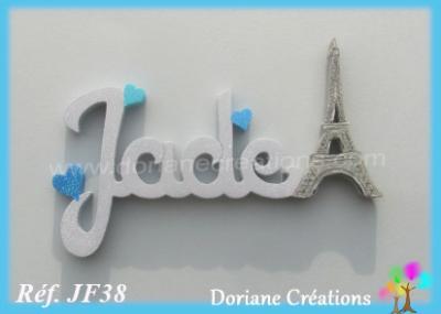 Prénom lettres bois I Love Paris, tour Eiffel et coeurs