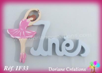 Prenom lettres bois ines avec danseuse