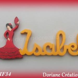 Prenom lettres bois isabel avec danseuse