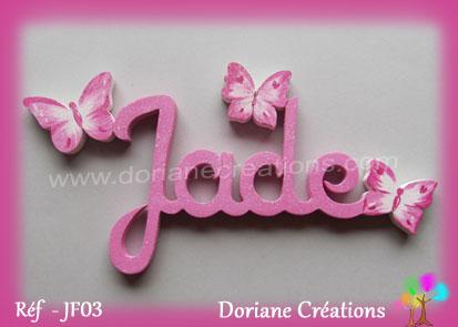 Prenom lettres bois jade papillons