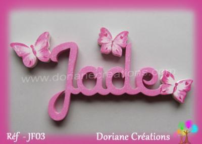04- Prénom lettres bois avec papillons nuancés