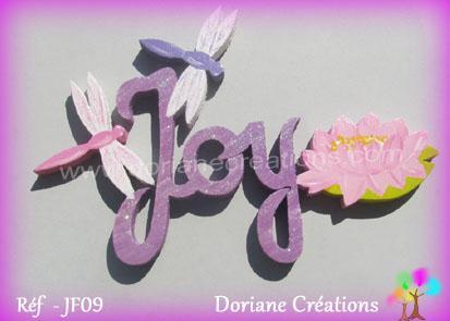 Prenom lettres bois joy avec nenuphar