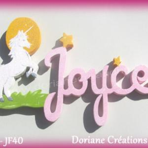 Prenom lettres bois joyce licorne