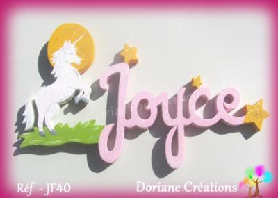 Prénom lettres bois avec décor licorne et étoiles