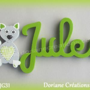 Prenom lettres bois jules avec chat