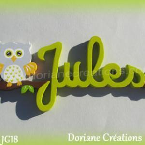 Prenom lettres bois jules avec chouette