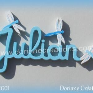 Prenom lettres bois julian avec libellules