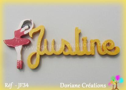 Prenom lettres bois justine avec danseuse