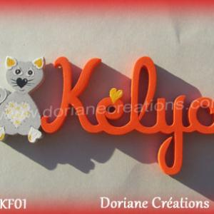 Prenom lettres bois kelya avec chat