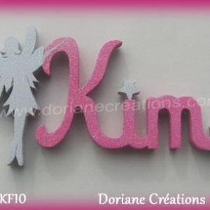 Prenom lettres bois kim fee