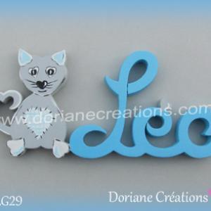 Prenom lettres bois leo avec chat
