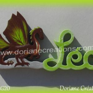 Prenom lettres bois leo avec dragon