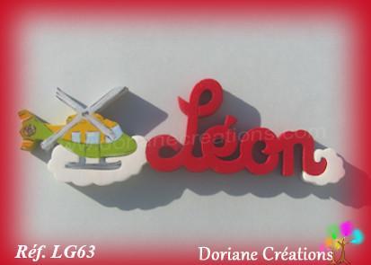 Prenom lettres bois leon avec helicoptere 1