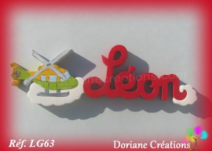 Prenom lettres bois leon avec helicoptere