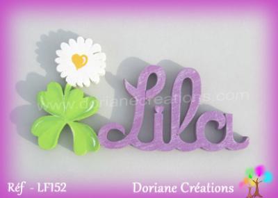 Prénom lettres bois décor 1 pâquerette