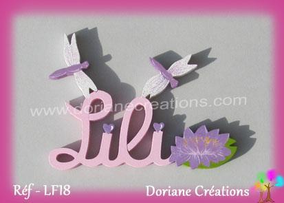 Prenom lettres bois lili avec nenuphar