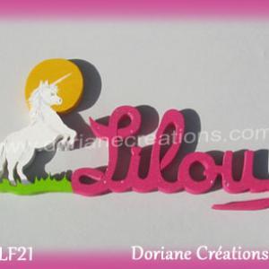 Prenom lettres bois lilou licorne