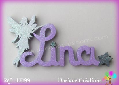 Prenom lettres bois lina fee