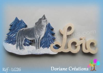 Prenom lettres bois loic avec loup