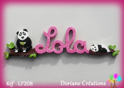 Prenom lettres bois lola avec pandas