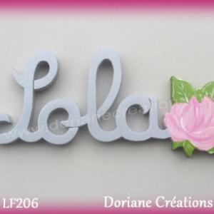 Prenom lettres bois lola rose