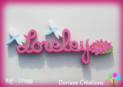 Prenom lettres bois loreley avec nenuphar