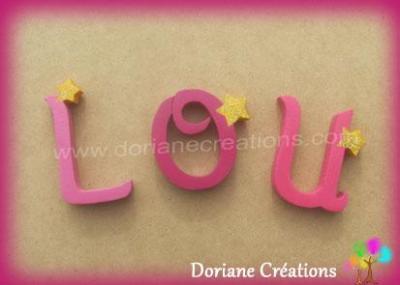 Lettres en bois étoiles LOU