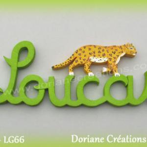 Prenom lettres bois loucas leopard