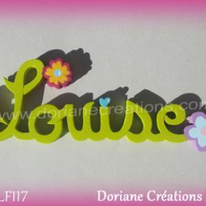Prenom lettres bois louise fleurs