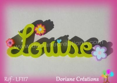 Prénom lettres bois décor fleurs fantaisies multicolores