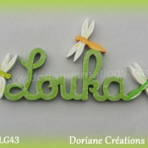 Prenom lettres bois louka avec libellules