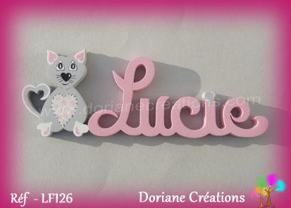 Prenom lettres bois lucie avec chat