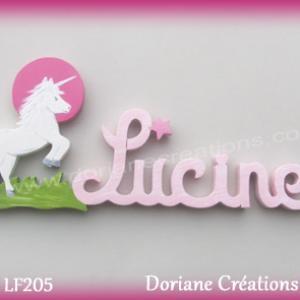 Prenom lettres bois lucine licorne