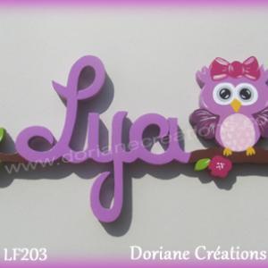 Prenom lettres bois lya avec chouette