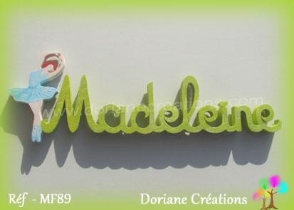 Prenom lettres bois madeleine avec danseuse