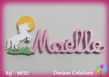 Prenom lettres bois maelle licorne