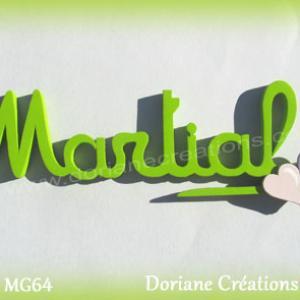 Prenom lettres bois martial coeurs