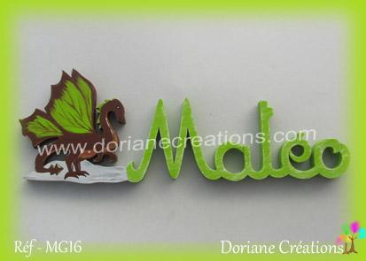 Prenom lettres bois mateo avec dragon