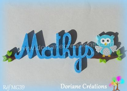 Prenom lettres bois mathys avec chouette
