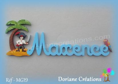Prenom lettres bois maxence pirate perroquet