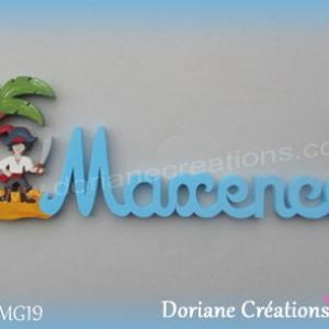 Prenom lettres bois maxence pirate perroquet