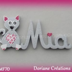 Prenom lettres bois mia avec chat